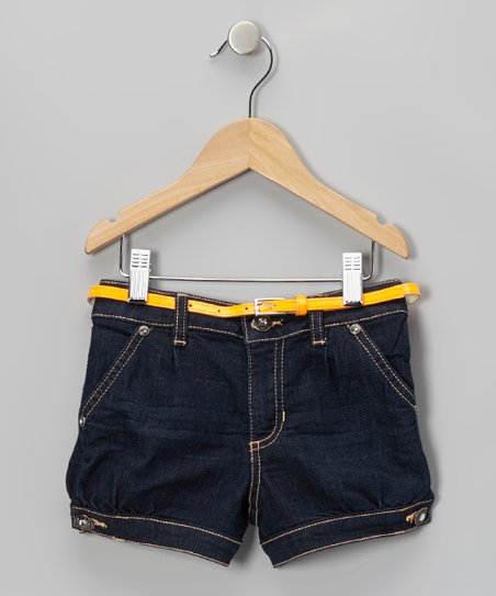 Dark Blue & Orange Belted Shorts - Girls