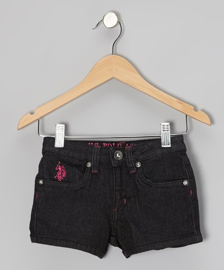 Black & Pink Denim Shorts - Girls