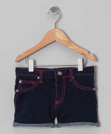 Bright Blue & Coral Denim Shorts - Girls
