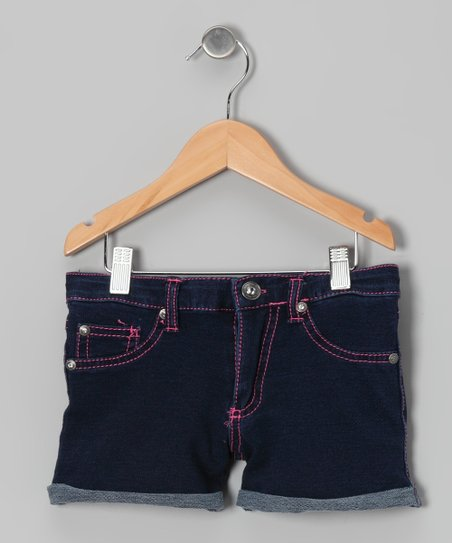 Bright Blue & Pink Denim Shorts	 - Girls