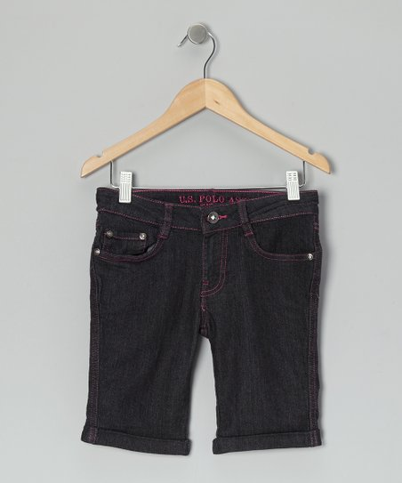 Dark Wash & Pink Denim Shorts - Girls