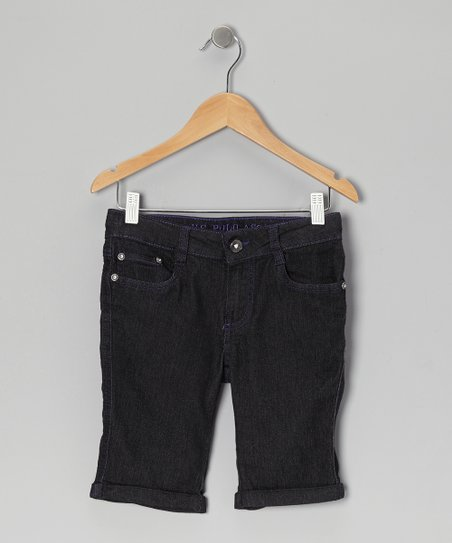 Dark Wash & Purple Denim Bermuda Shorts - Girls