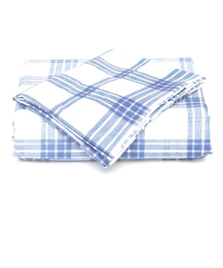 Blue Summer Plaid Microfiber Sheet Set