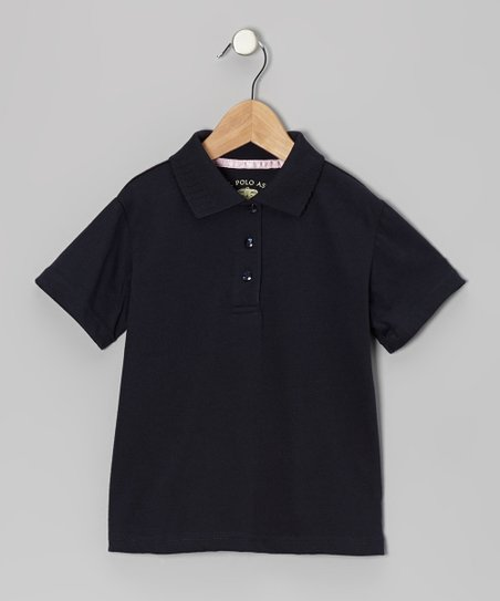 Navy Picot Polo - Girls