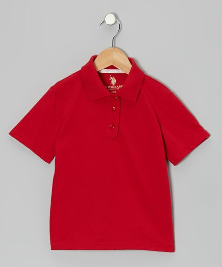 Red Picot Polo - Girls