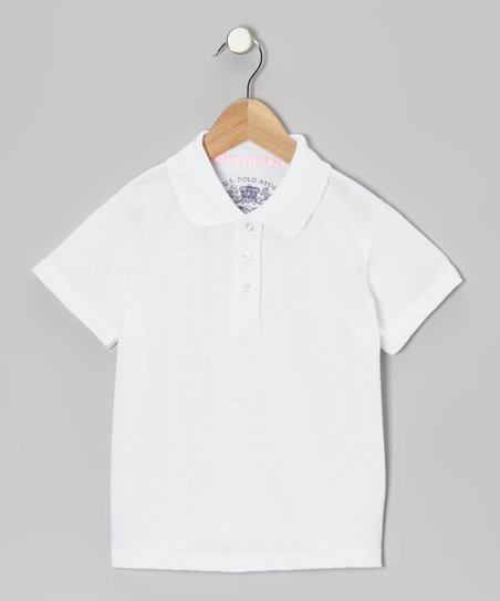 White Picot Polo - Girls