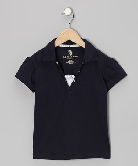 Navy Snap & Lace Polo - Girls
