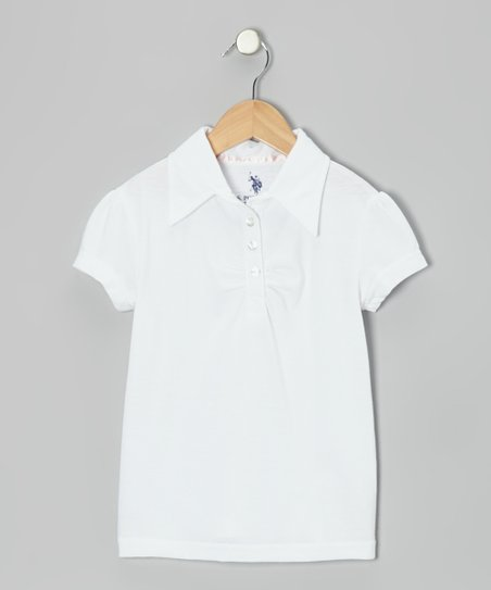 White Ruched Polo - Girls