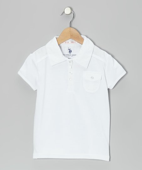 White Pocket Polo - Girls