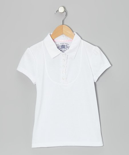White Ruffle Polo - Girls