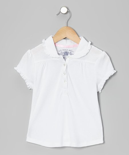 White Ruffle Pleated Polo - Girls