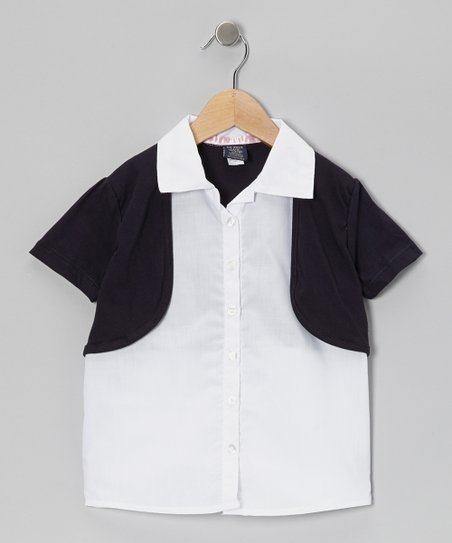 White & Navy Layered Button-Up - Girls