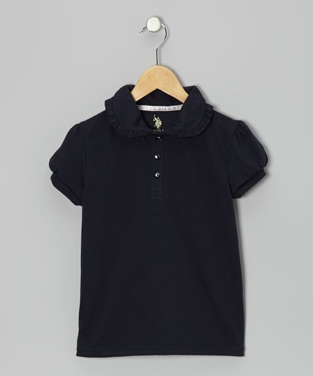 Navy Ruffle Puff-Sleeve Polo - Girls