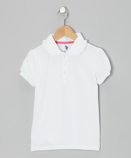 White Ruffle Puff-Sleeve Polo - Girls