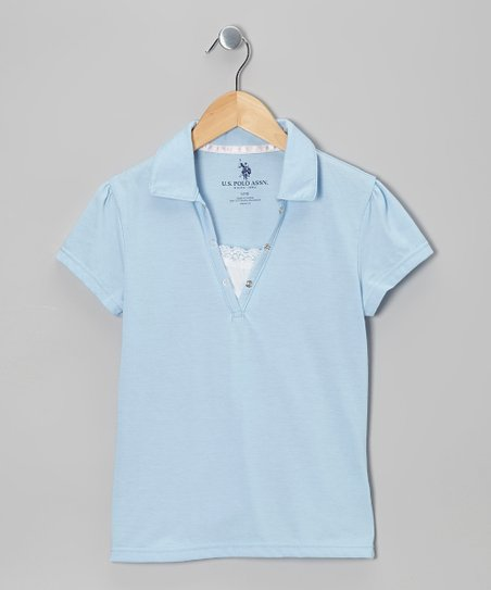 Light Blue Snap & Lace Polo - Girls