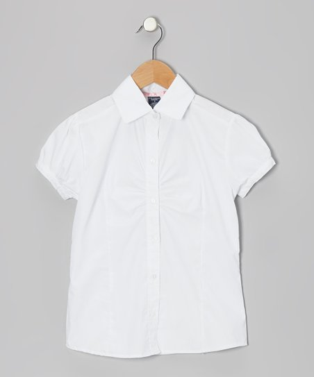 White Ruched Button-Up - Girls