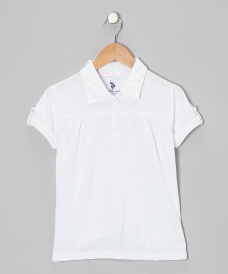 White Pleated Polo - Girls