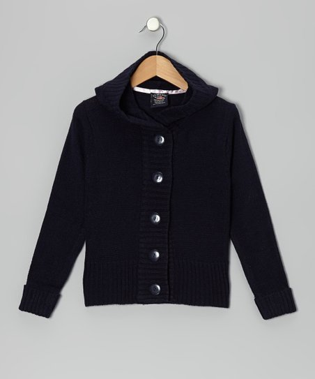 Navy Knit Button-Up Hoodie - Girls