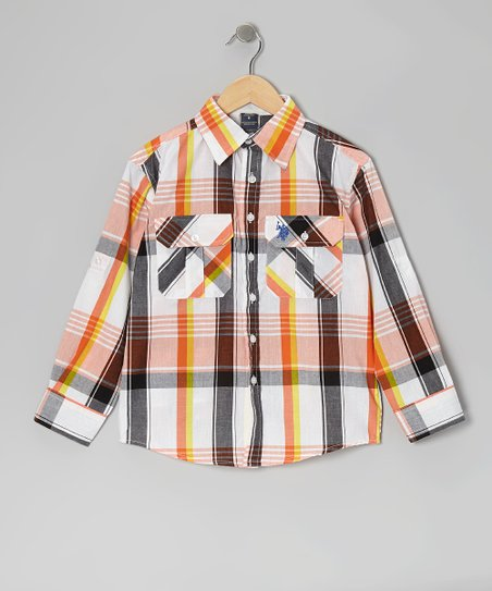 Orange & Black Plaid Button-Up - Boys