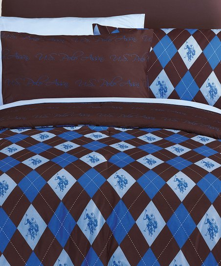 Cobalt &amp; Brown Argyle Bed-in-Bag Plaid Reversible Bedding Set
