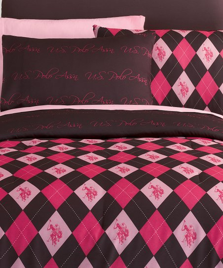 Bubblegum & Brown Argyle Bed-in-Bag Plaid Reversible Bedding Set