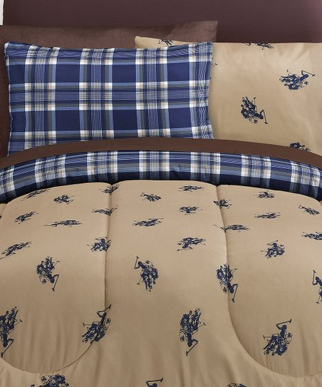 Khaki & Navy Printed Bed-in-Bag Plaid Reversible Bedding Set