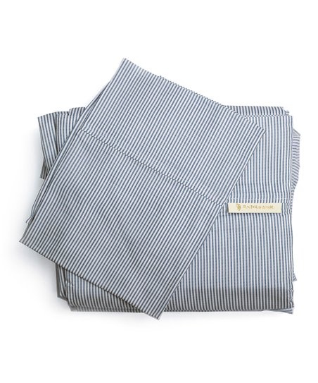 Navy Pinstripe Sheet Set