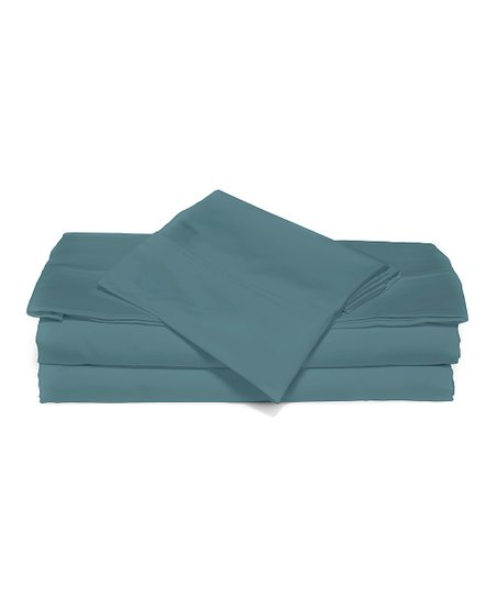 Peacock Blue Luxurious Solid Queen Sheet Set