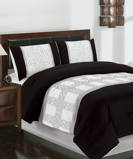 Black &amp; White Dorina Queen Comforter Set