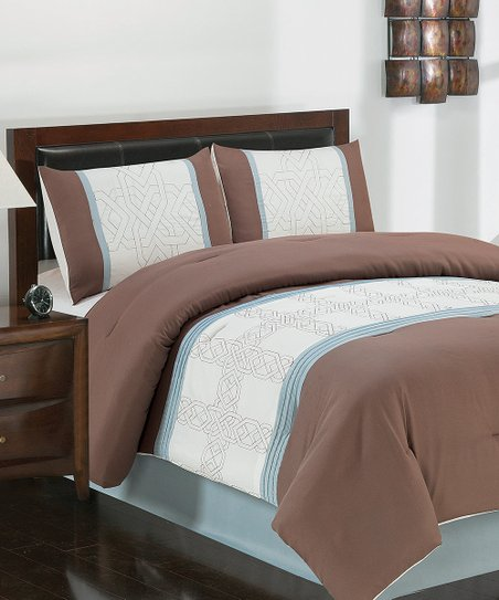 Blue & Tan Dorina Queen Comforter Set
