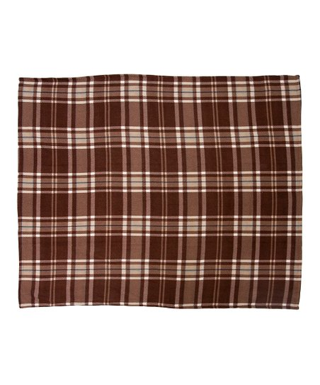 Cocoa Printed Plaid Fleece Throw