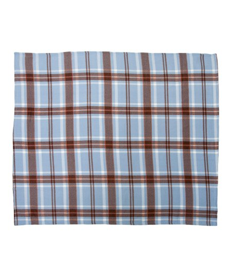Midnight Blue Printed Plaid Fleece Throw