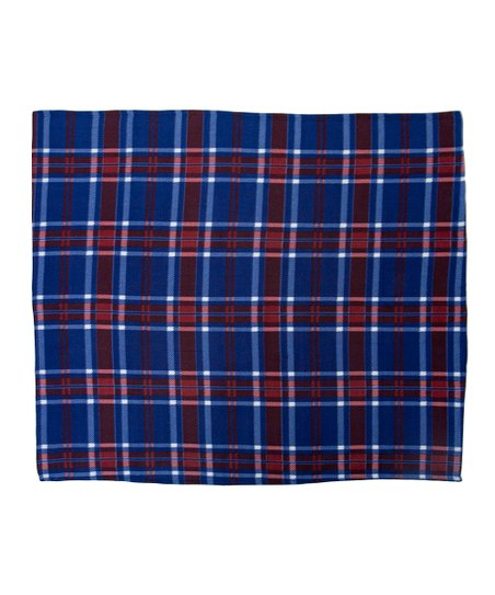 Navy Printed Plaid Fleece Throw
