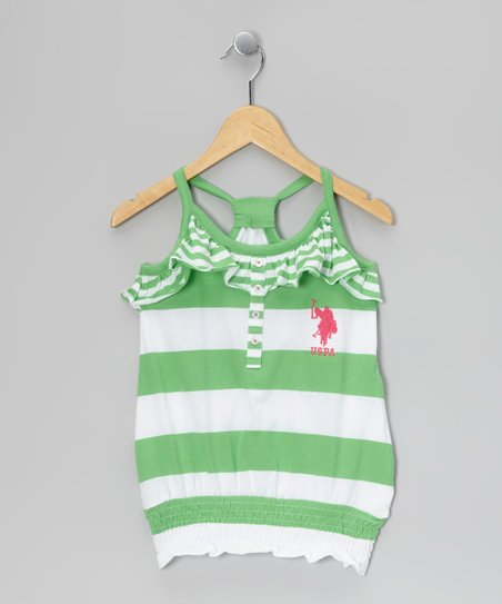 Lime Stripe Gathered Tank