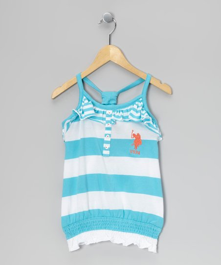 Turquoise Stripe Gathered Tank