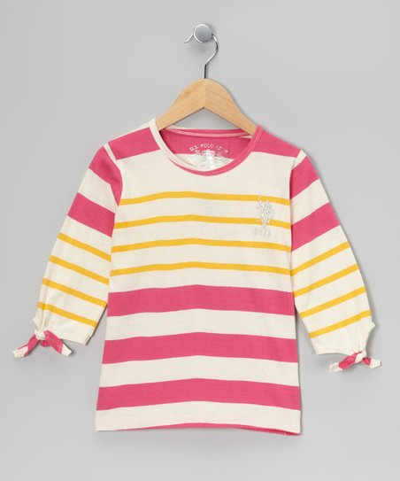Pink &amp; Yellow Three-Quarter Sleeve Top