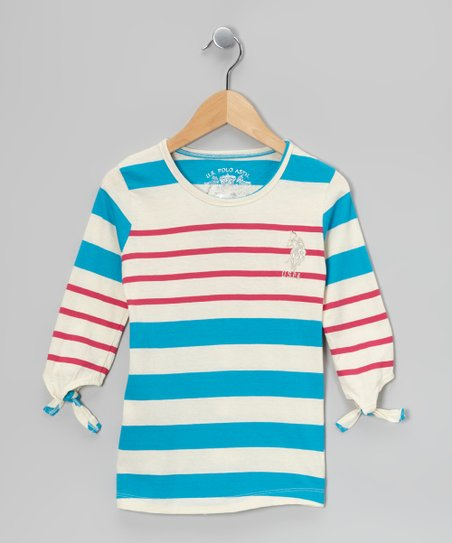 Pink &amp; Teal Three-Quarter Sleeve Top