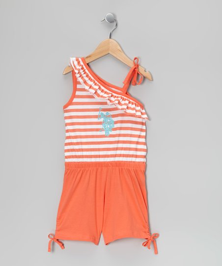 Ferris Orange Stripe Asymmetrical Romper