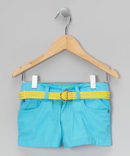 Turquoise &amp; Lime Belted Shorts