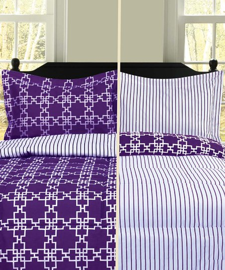 Plum &amp; White Sofia Reversible Printed Comforter Set