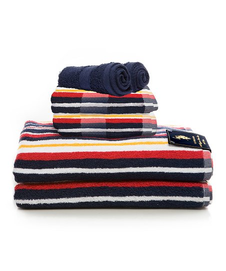 Navy Stripe Ringspun Towel