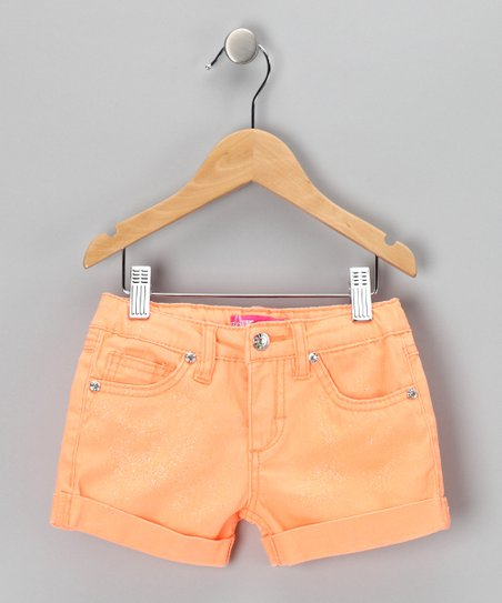 Orange Glitter Shorts - Girls