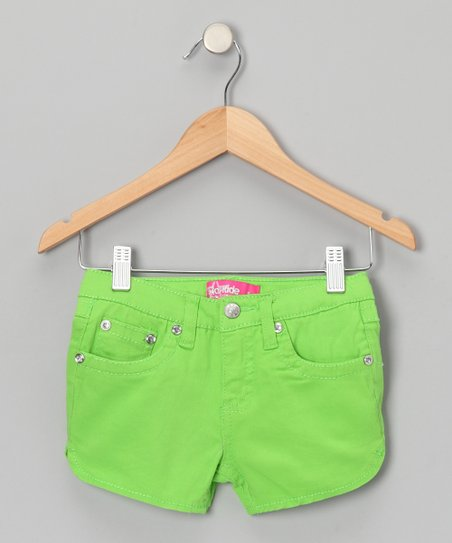 Bright Green Rhinestone Shorts - Girls
