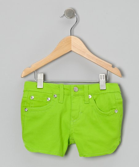 Bright Green Twill Rhinestone Shorts - Girls
