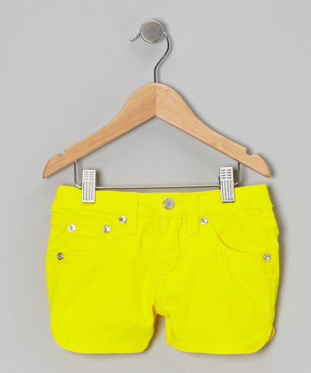 Neon Yellow Twill Rhinestone Shorts - Girls