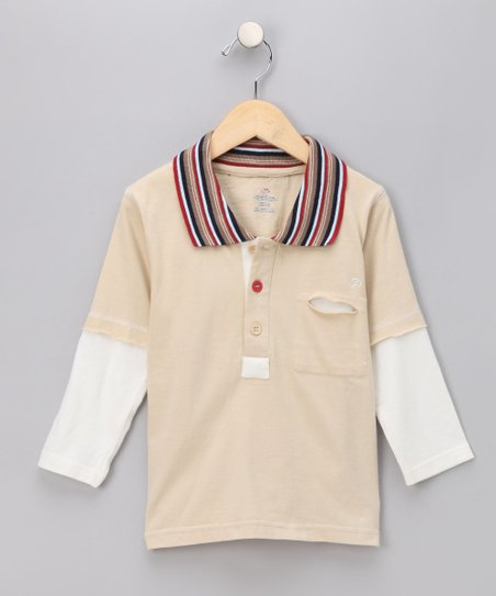 Khaki Long-Sleeve Polo - Infant & Boys