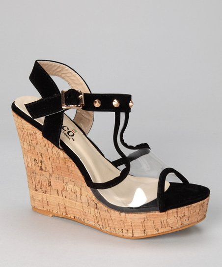 Black Alba Wedge Sandal