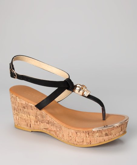 Black Waverly Wedge Sandal