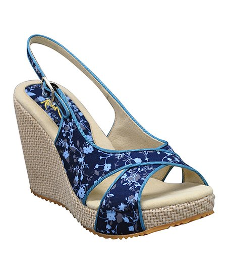 Navy Ditzy Slingback Wedge
