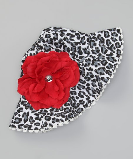 Black &amp; Gray Leopard Sunhat